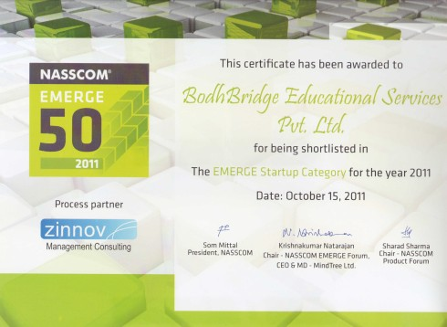 NASSCOM EMERGE 50 Award, 2011 for BodhBridge Educational Services Private Limited